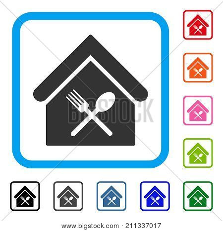 Food Court icon. Flat grey pictogram symbol in a blue rounded rectangular frame. Black, gray, green, blue, red, orange color additional versions of Food Court vector. Designed for web and app UI.