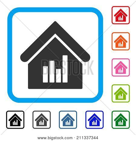 Realty Bar Chart icon. Flat gray pictogram symbol in a blue rounded rectangular frame. Black, gray, green, blue, red, orange color versions of Realty Bar Chart vector.