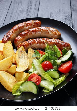 Delicious Hot Grilled Sausages On Plate