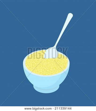 Bowl Of Couscous Porridge And Spoon Isolated. Healthy Food For Breakfast. Vector Illustration