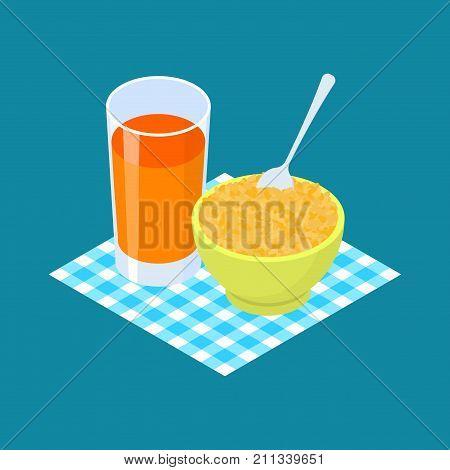Bulgur Porridge And Fruit Juice. Breakfast Healthy Food. Vector Illustration