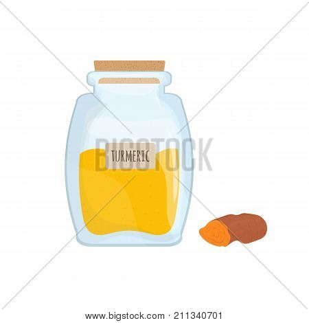 Yellow turmeric powder preserved in transparent kitchen jar isolated on white background. Tasty condiment, oriental food spice, spicy cooking ingredient stored in clear pot. Vector illustration