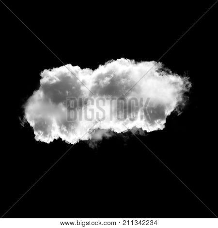 Single cloud isolated over black background 3D illustration realistic cloud shape rendering