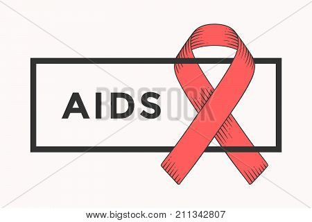 Poster and banner with text AIDS and red ribbon - world aids day symbol. Banner for 1st December, World Aids Day concept of aids awareness. Classic graphic design. Vector Illustration