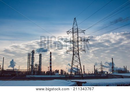 Industrial Zone, Water And Smoke Pipes, Heat Loss Winter, Environmental Pollution