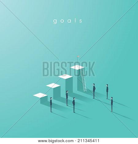 Business goals vector concept with graph or chart and team of businessmen standing around. Business plan, strategy, objectives and project symbol. Eps10 vector illustration.