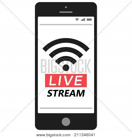 Live stream smartphone Social media Network live streaming, vector smartphone mobile broadcast stream icon logo