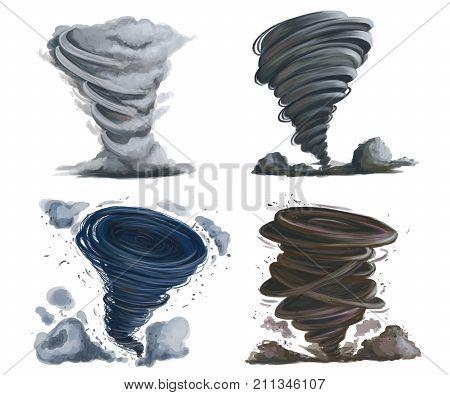Tornado set. Isolated elements on white background. Hand drawn illustration