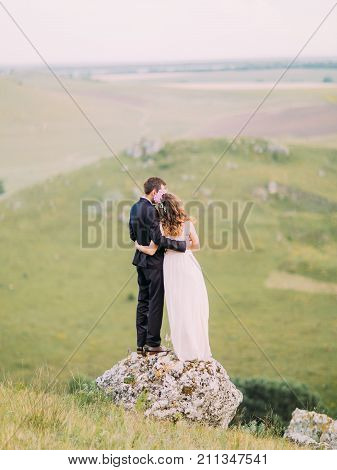 Back view of the hugging newlyweds standing on the stone while enjoying the nature