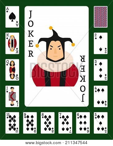 Poker set with isolated cards casino gambling deck playing royal king queen jack gamble symbols. Blackjack club flush vector design.