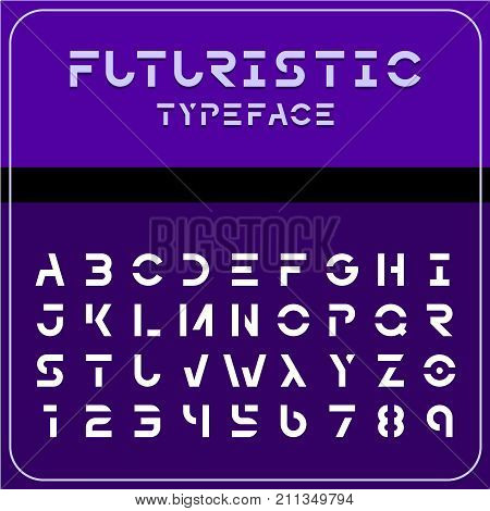 Modern futuristic sci-fi font. Strong future space style typeface with gaps. Electronic techno geometric digital robots theme etc.
