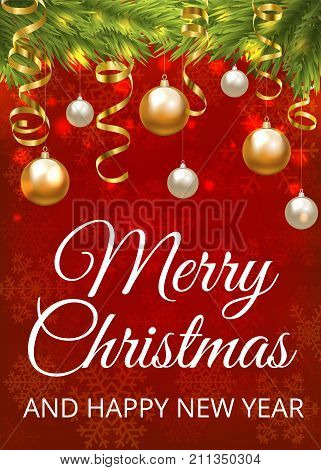 Merry Christmas red background with Christmas tree border, baubles and golden serpentine streamers