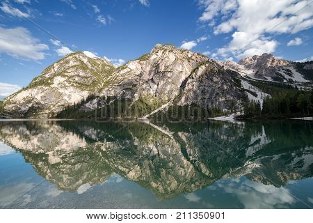 Beautiful reflections at Lake Prags South Tyrol Italy