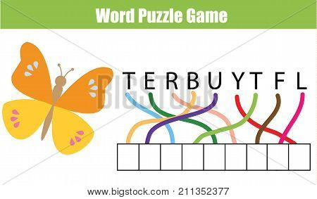 Words puzzle children educational game. Place the letters in right order. Learning vocabulary and animals theme. Printable worksheet for pre school years kids