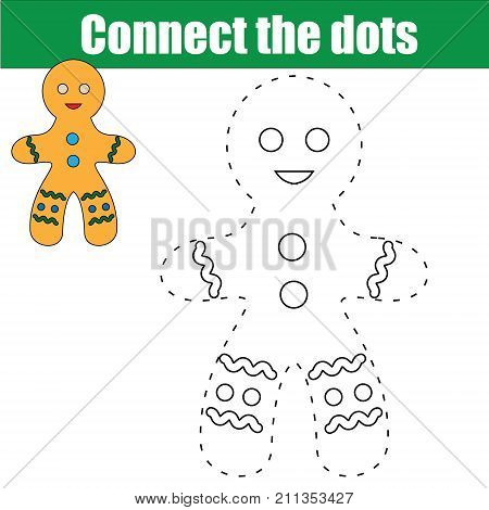 Connect the dots children educational drawing game. handwriting game for kids. Printable worksheet activity for New Year Christmas holidays theme