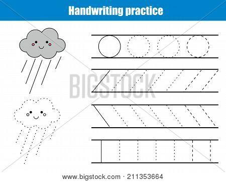 Handwriting practice sheet. Educational children game printable worksheet for kids. Writing training printable worksheet with lines and cartoon rainy cloud