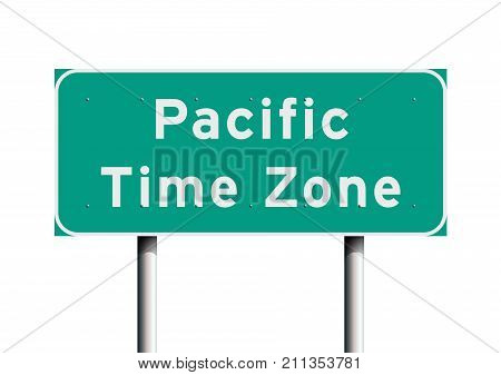 Vector illustration of Pacific time zone road sign