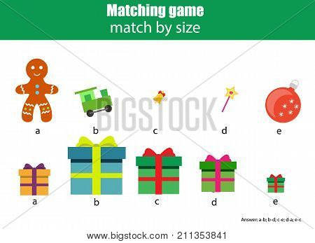 Matching children educational game. Match by size. Activity for pre shool years kids and toddlers. Christmas new year theme