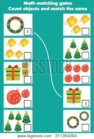 Math educational game for children. Matching mathematics activity. Counting game for kids. Christmas, new year winter holidays theme.