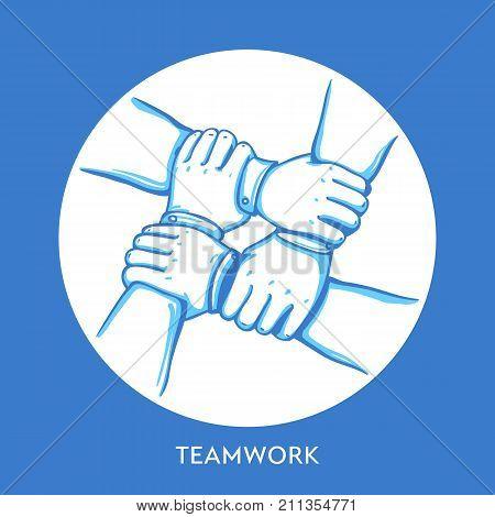 Teamwork concept. Stack of business hands. Cooperation Teamwork, Group, Partnership, Team buidding. Hand drawn line art cartoon vector illustration.