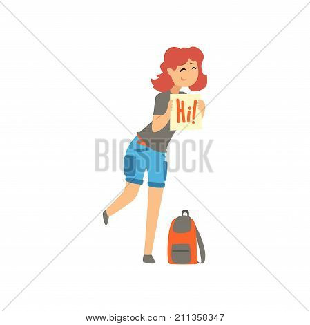 Cartoon traveler young woman hitchhiker holding banner, girl trying to stop a car on a highway, travelling by autostop vector Illustration on a white background