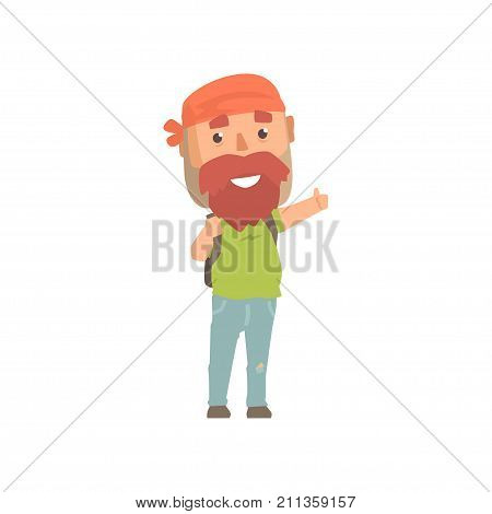 Hipster man traveler with backpack, hitchhiker man trying to stop a car on a highway by hand, travelling by autostop cartoon vector Illustration on a white background