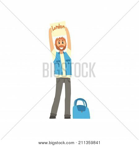 Cartoon traveler man hitchhiker holding banner with the inscription London, man trying to stop a car on a highway, travelling by autostop vector Illustration on a white background