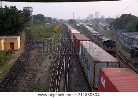 Dhaka, Bangladesh, October 2017 a train is departing from the Dhaka's main train station located at khigao in dhaka city in bangladesh taken on 29th October.