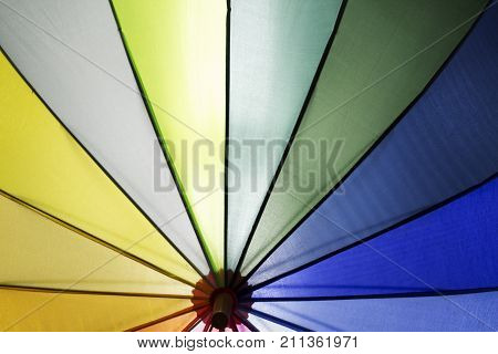 Colorful umbrella with yellow green and blue sections