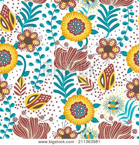 Floral seamless pattern. Hand drawn creative flowers in folk style. Colorful artistic background. Abstract herb. Can be used for wallpaper textiles wrapping card cover. Vector illustration eps10