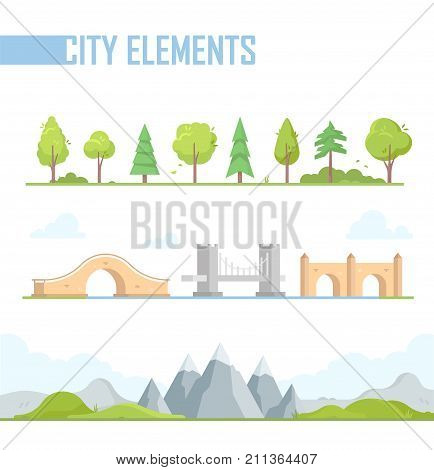 Set of city elements - modern vector cartoon isolated illustration in flat design style on white background. Different trees, bushes, mountains, hills. Moon, viaduct, arched bridges