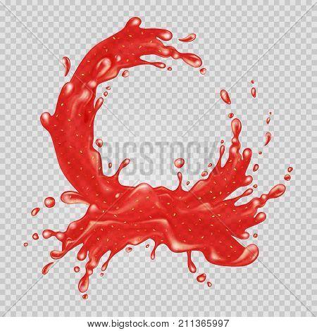 Strawberry jam. Red liquid splash. Transparent water. Vector illustration.