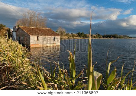 Old fisher house on Portuguese coast, Europe