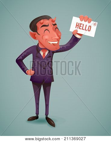 Devil Businessman Demon Character Demonstration Call Card Greeting Suit Banking Hand Vintage Icon Retro Cartoon Design Vector Illustration