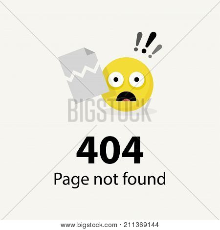 404 error Page not found emoticon - isolated vector illustration