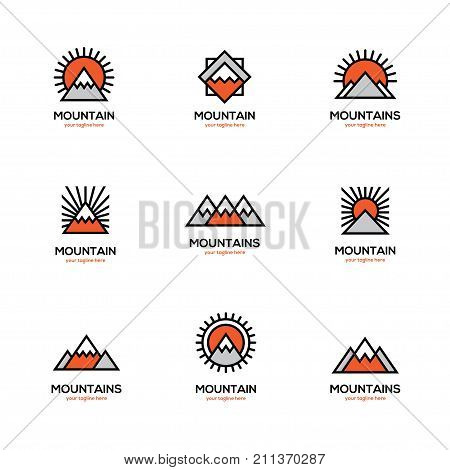 Mono line mountain icon set. Winter sports ski resort hotel apartments logo.