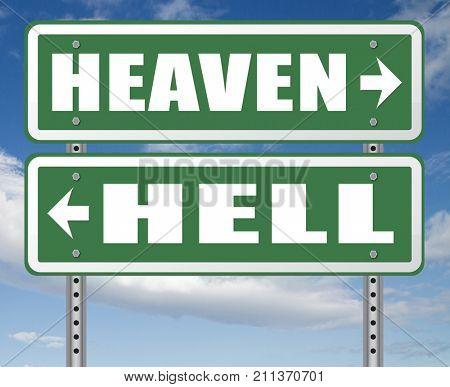 heaven or hell devils and angels salvation from evil save your soul and spirit search and find Jesus and God 3D, illustration