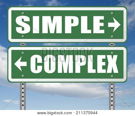 simple or complex keep it easy or simplify solve difficult problems with simplicity or complex solution no difficulty 3D, illustration
