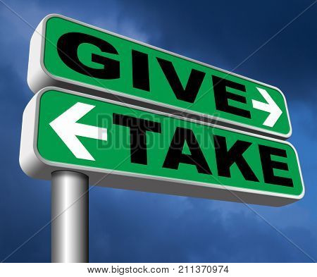 give take to charity and make a contribution or donation altruism and generous giving and donate cheap grudging volunteering 3D, illustration