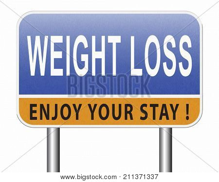 weight loss lose extra pounds by sport or dieting losing overweight kilos and stop obesity road sign billboard 3D, illustration