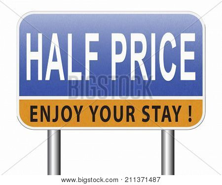 half price sale sign 50% sales reduction 3D, illustration