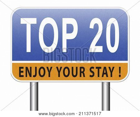 top 20 charts list pop poll result and award winners chart ranking music hits best top twenty quality rating prize winner sign  3D, illustration