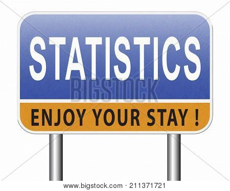 Statistics and data graph analysis for website survey, road sign billboard 3D, illustration