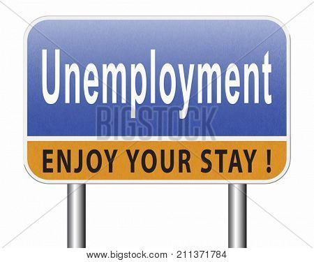 Unemployment rate loose job loss joblessness jobloss caused by recession 3D, illustration