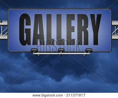 gallery wall of picture and image and art exhibition, road sign billboard 3D, illustration