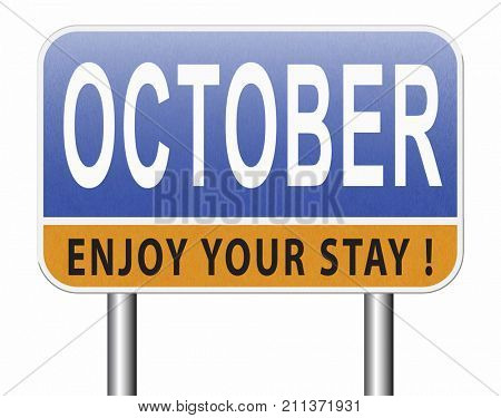 October autumn or fall month or event calendar, road sign billboard. 3D, illustration