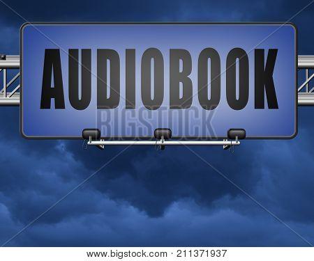 audiobook, listen online or buy and download audio book; road sign, billboard. 3D, illustration