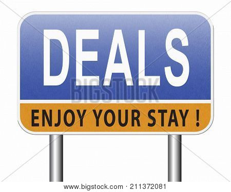 Deals great special sales offer road sign billboard.  3D, illustration