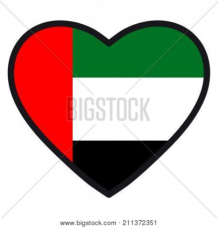Flag of UAE in the shape of Heart with contrasting contour, symbol of love for his country, patriotism, icon for Independence Day.