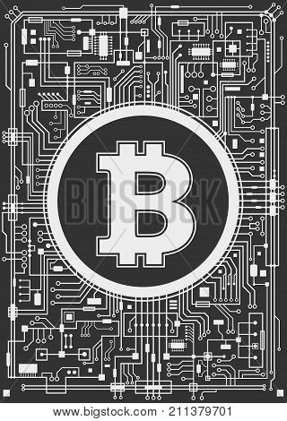 Bitcoin digital currency background. Futuristic chipset technology network concept. Vector black and white vertical illustration.